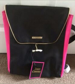 JUICY COUTURE BACKPACK / RUCKSACK / BAG - GENUINE - BRAND NEW WITH TAGS - BLACK GOLD PINK DIAMANTE