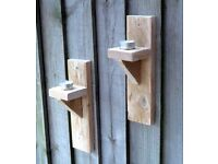 Pair of Hand Made Wooden GARDEN CANDLE SCONCES - NEW