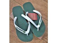 HAVAIANAS FLIP FLOPS WOMEN BRASIL LOGO - GREEN/WHITE - SIZE UK 4.5/5
