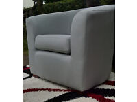 Ex-display Duck Egg Blue Natural Fabric Material Arm Chair