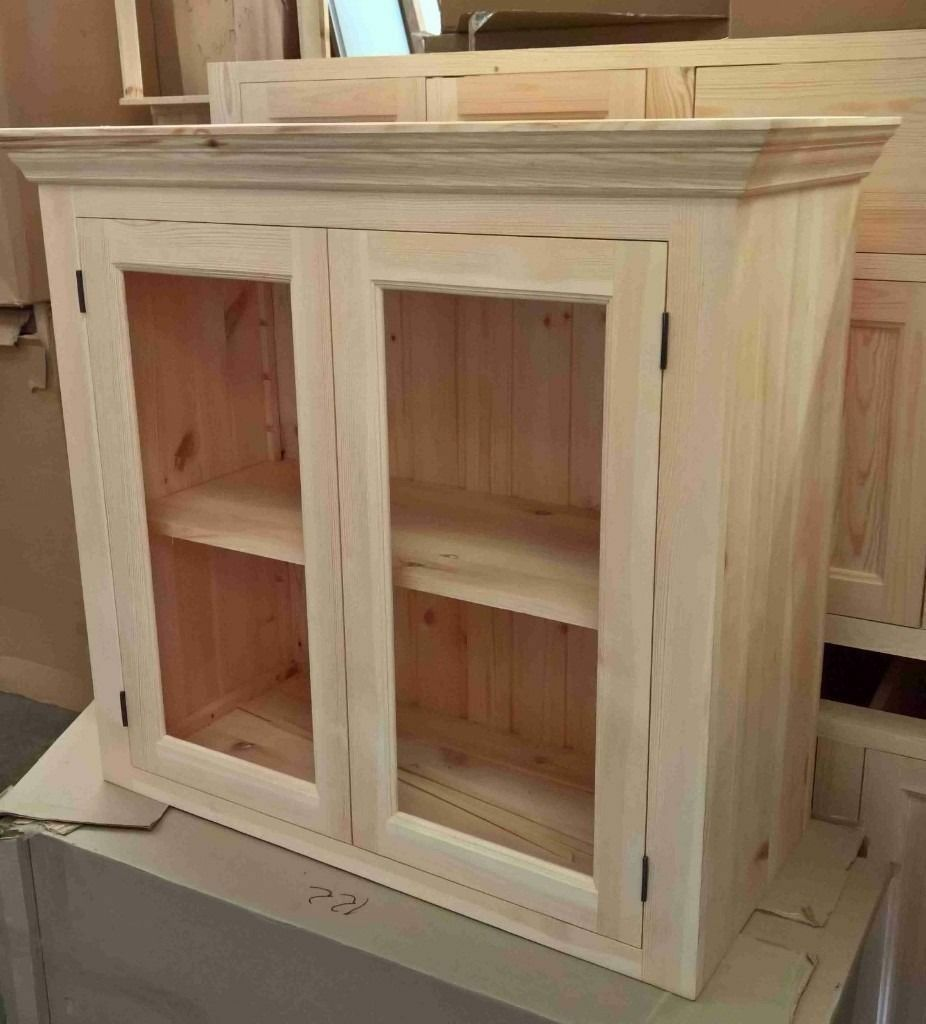 Unfinished Pine Kitchen Cabinets: Solid Pine Kitchen Wall Cabinet With Glazed Doors