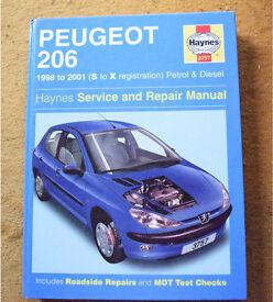 Peugeot 206 Haynes Repair Manual, 1998 to 2001, S to X reg