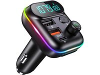 Bluetooth Car Adapter, 38W Type-C Fast Charge + FM Transmitter