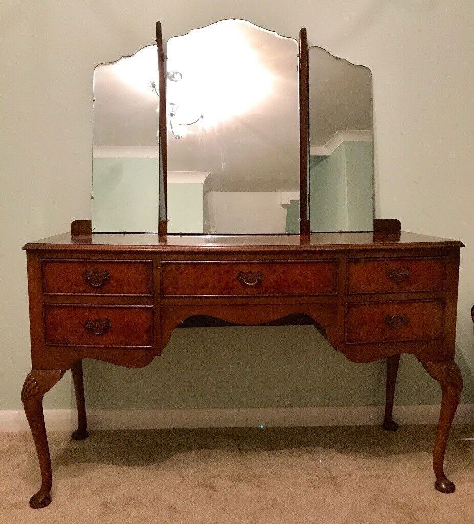 Antique Dillon Dressing Table Burr Walnut Wood 3 Panel Mirror Writing Desk