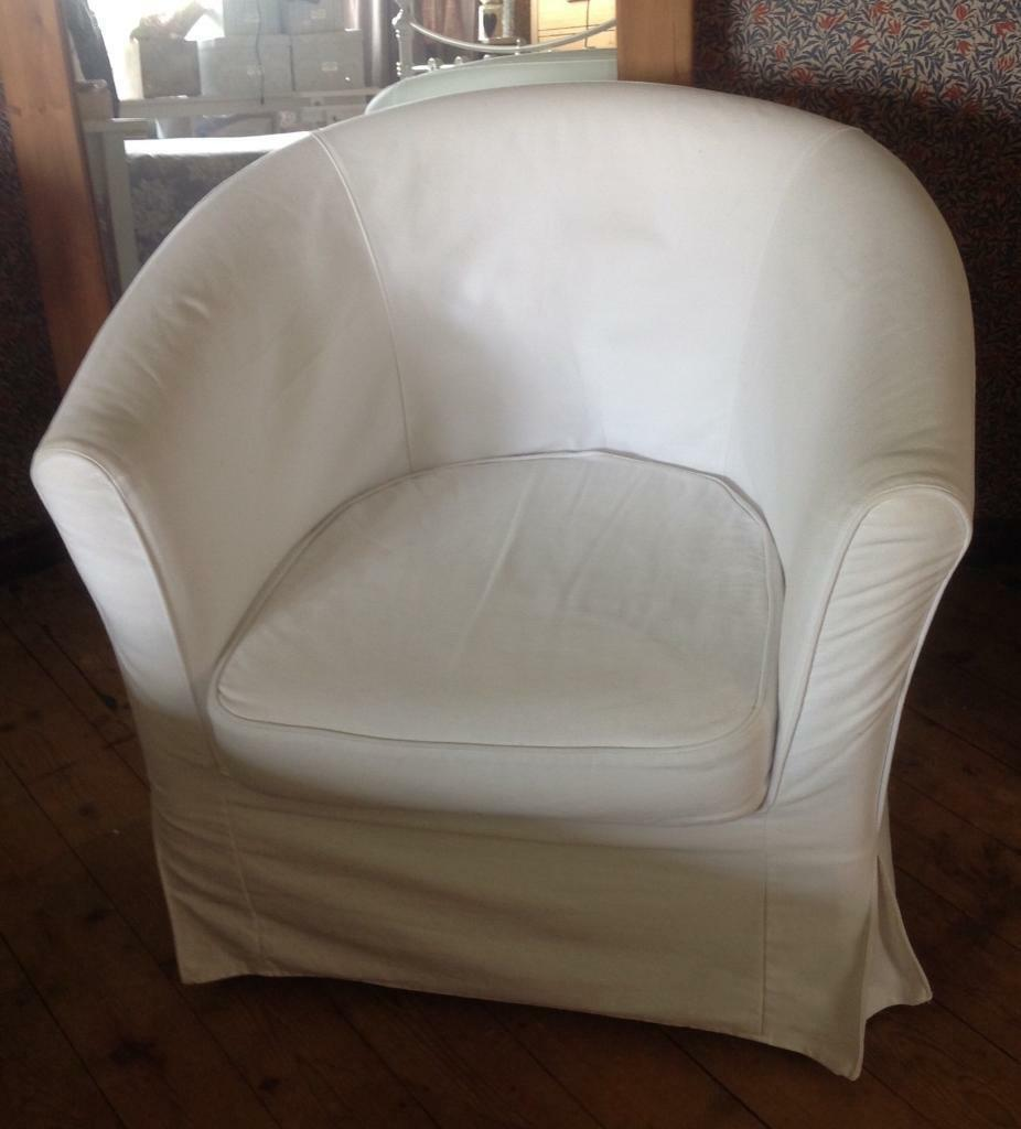 Ikea Tub Chair With Cream Cover In