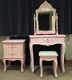 Children's pink wooden ornate dressing table set