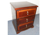 Mahogany Beside Chest of 3 Drawers