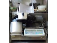 Meat slicer and scales