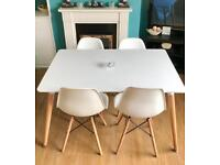 ~WHITE DINING TABLE & 4 CHAIRS~