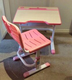 Desk - adjustable for age 3-11. Pink and white Desk and chair. Used. Excellent condition.