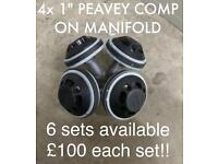 """PEAVEY 1"""" compression drivers x4 on 1"""" exit manifold"""