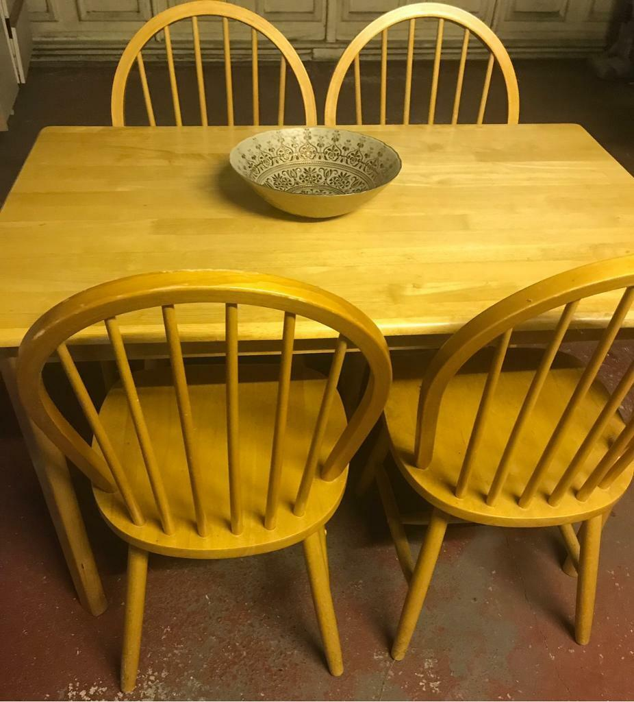 Solid Pine Kitchen Table And 4 Chairs In Littleover Derbyshire