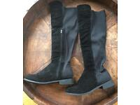 Thigh length black faux suede boots size 7