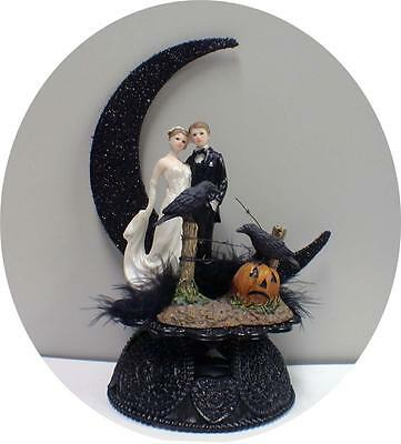Sexy black Raven Moonlight Halloween Wedding Cake topper top cool funny - Cool Halloween Cakes