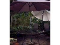 ROUND GLASS TOP PATIO TABLE WITH LAZY SUSAN & PARASOL