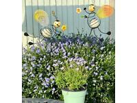 2 BEES FUN INDOOR / OUTDOOR GLOW IN THE DARK DECOR FOR POTS OR FLOWER BIRDERS ETC