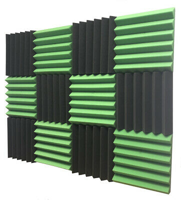 "2"" x 12""x12"" Green Black Acoustic Wedge Studio Soundproofing Foam Tiles 12 Pack"