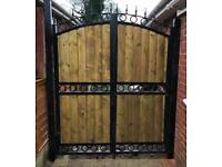 Wood and metal steel gate