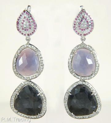 Affordable Fashion 925 Genuine Ruby Fancy & Diamond Cut White Sapphire Earrings