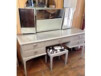 Stag Minstrel Dressing Table 3x mirrors & stool Upcycled