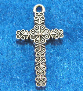 10 Antique Silver CROSS Charms Pendant Earring Drops Tibet Jewelry Findings CR85