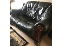 dark green leather sofa -URGENT MUST GO NOW