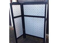 An Ikea 3 fold screen, wood and fabric