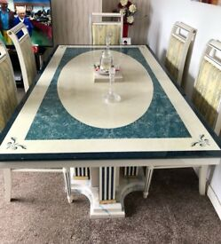 Table and 6 chairs marble