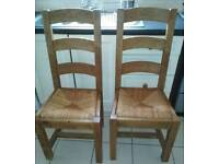 2 RECLAIMED PINE HEAVY WEIGHT KITCHEN DINING CHAIRS EXCELLENT QUALITY