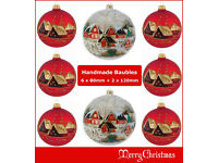 Details about 8 Glass Christmas Baubles 80mm + 120mm Handmade & Painted Balls Ball Tree