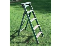 SET OF OLD WOODEN FOLDING STEP LADDERS