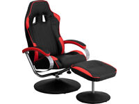 RACER SPORTS GAMING RECLINER CHAIR & FOOTSTOOL