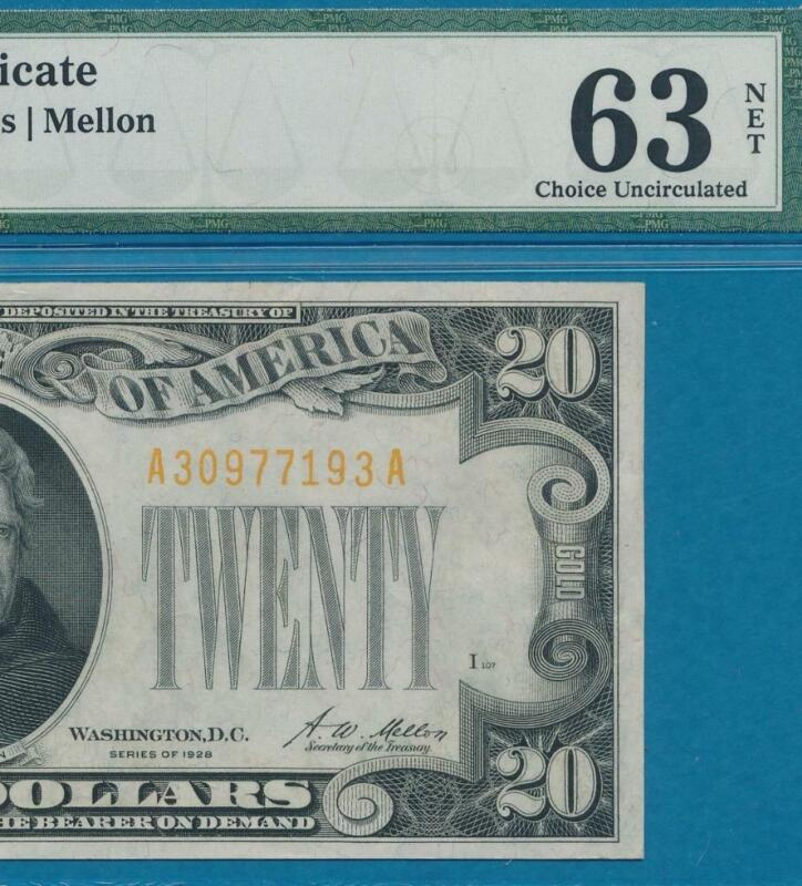 $20. 1928 GOLD SEAL GOLD CERTIFICATE  PMG  CHOICE NEW 63 NET