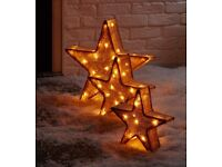 Christmas Decoration 🌟LED FREESTANDING NATURAL STAR TRIO SILHOUETTE, PACK OF 3