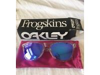 Oakley Frogskin wayfarer sunglasses polished clear frame violet iridium lenses