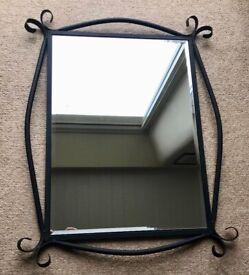 Black Wrought Iron Framed Bevelled Edge Mirror
