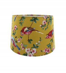 Bird lampshade ebay rio bird floral pendant light lamp shade in ochre mozeypictures Choice Image