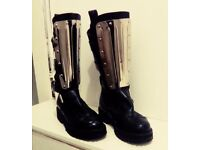 BOOTS AS NEW GOTHIC ROCK FESTIVAL STAGE ALTERNATIVE 4.5 LEATHER BOOTS