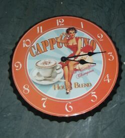"1950's Styled Bottle Top ""Cappuccino"" Wall Clock"