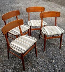 DANISH TEAK CHAIRS Set of 4 Mid-Century OAKVILLE Dining Schionning Elgaard Smooth Solid Wood Made Denmark Scandinavian