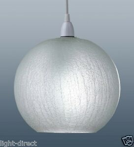 CRACKLE GLASS EFFECT WHITE ROUND PENDANT LAMP SHADE NEW