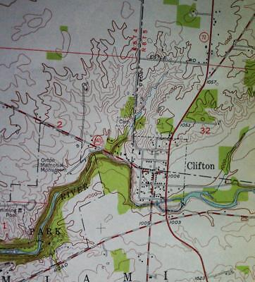 CLIFTON OHIO QUADRANT TOPOGRAPHIC SURVEY MAP 1954 U.S. DEPARTMENT OF THE ARMY
