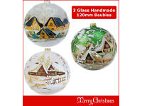 Details about 3 x Glass Christmas Bauble 120mm Handmade & Painted Balls Baubles Ball Tree