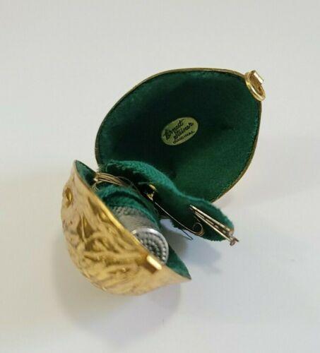 Vintage Ernest Steiner Original Label Walnut Figural Gold Tone Metal Sewing Kit