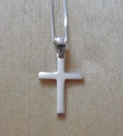 Silver Cross Necklace Hallmarked 18""
