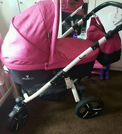 PINK venicci pushchair and pram