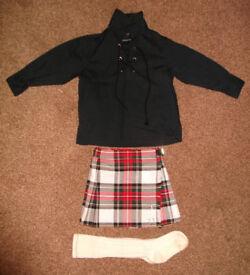 Childs Kilt, Socks & Shirt - Dress Stewart Tartan - Age 2 Years