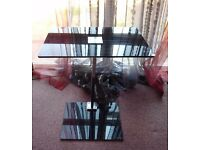Nova Black Glass and Chrome Laptop Table / Stand Designer TV Side Table