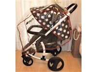 malibu xl pram , in black + white spots ,has raincover and is good condition and clean