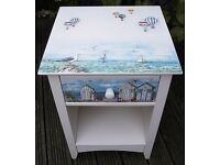 Solid BEDSIDE TABLE decorated with Decoupage and Handmade Painting